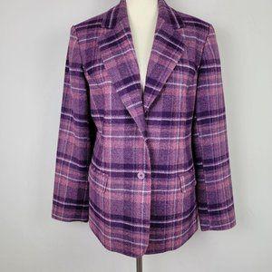 Chadwick's Purple Wood Plaid Blazer Jacket size 14
